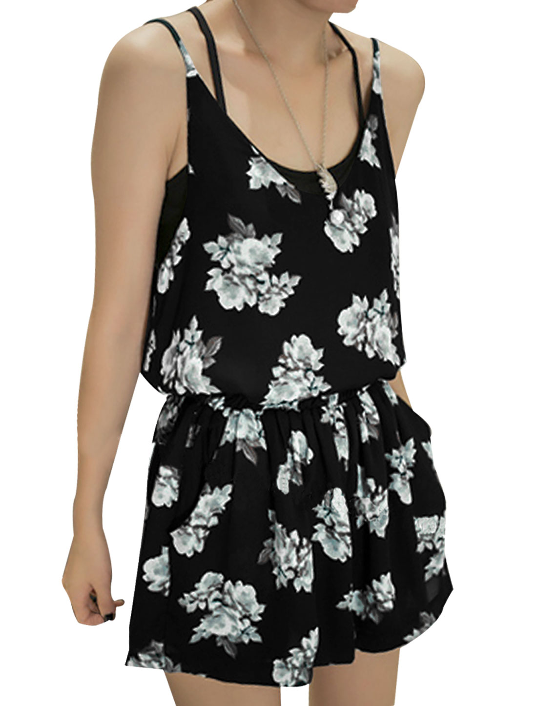 Lady Spaghetti Straps Floral Prints Chiffon Cami w Elastic Waist Shorts Set Black XS