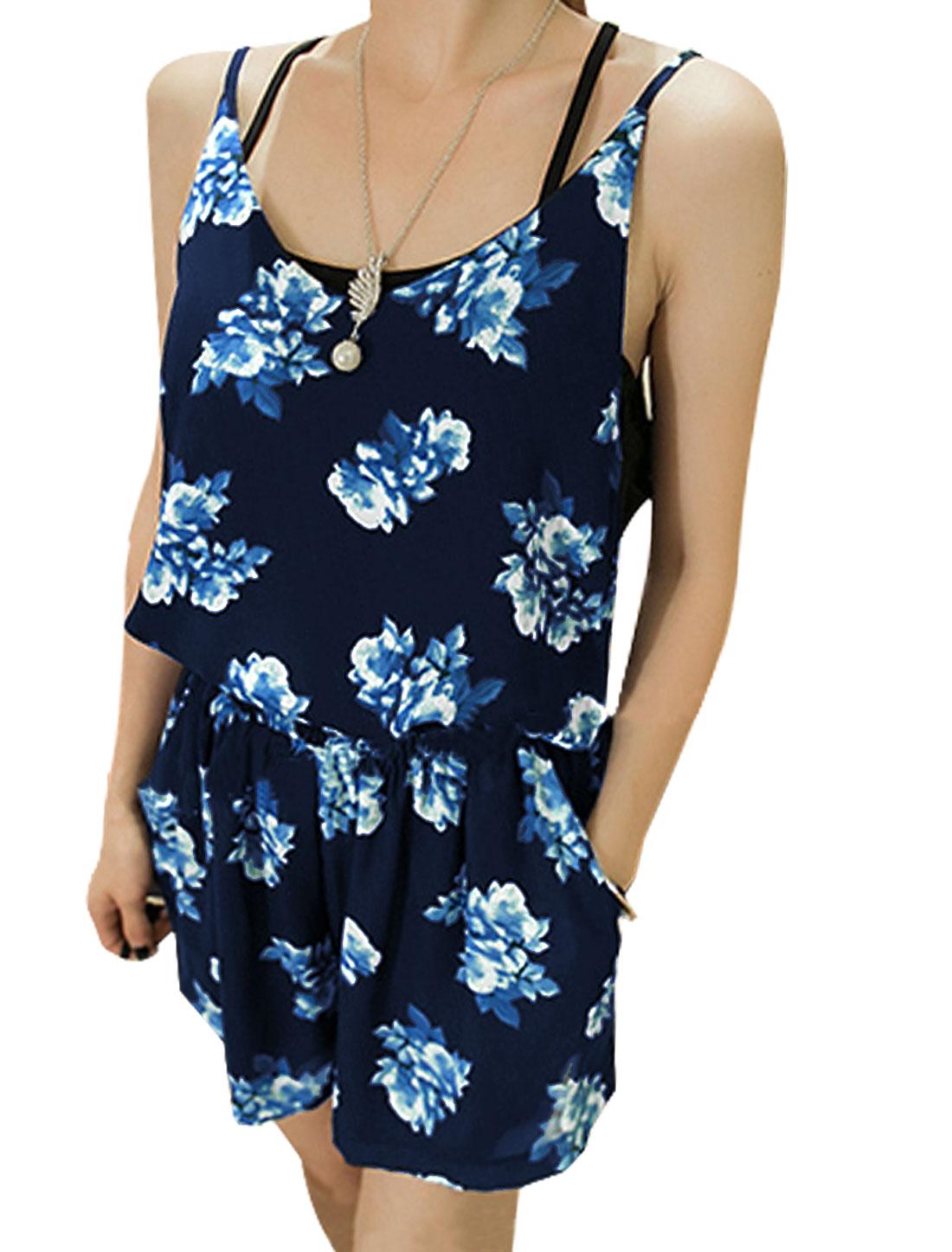 Lady Floral Prints Spaghetti Straps Cami w Stretchy Waist Shorts Navy Blue XS