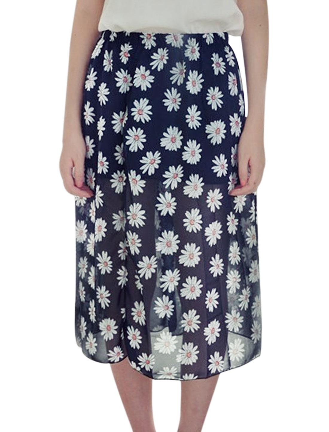Lady Elastic Waist Floral Prints Half Lined Chiffon Skirt Navy Blue XS