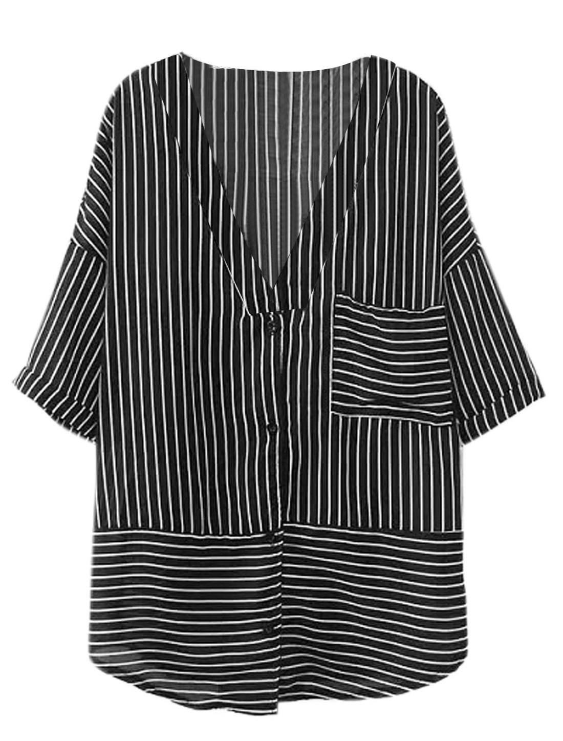 Lady Deep V Neck Half Batwing Sleeve Stripes Single Breasted Shirt Black S