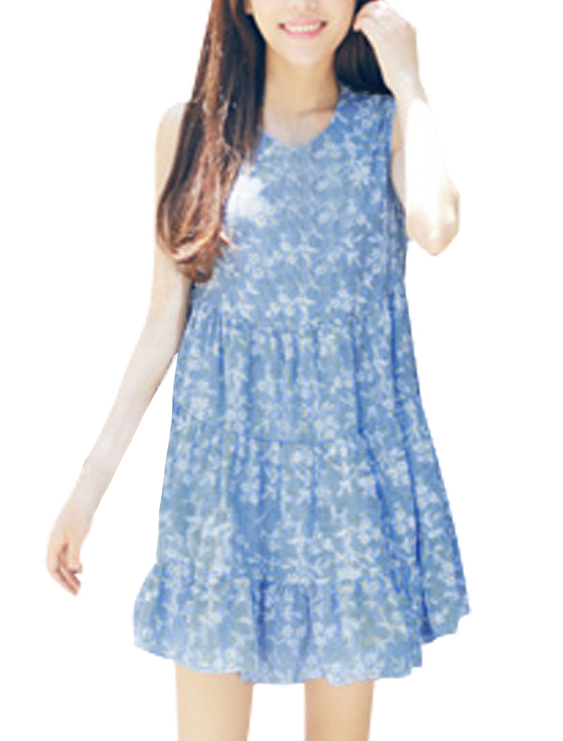 Lady Sleeveless Floral Embroidery Unlined Casual Dress Blue XS