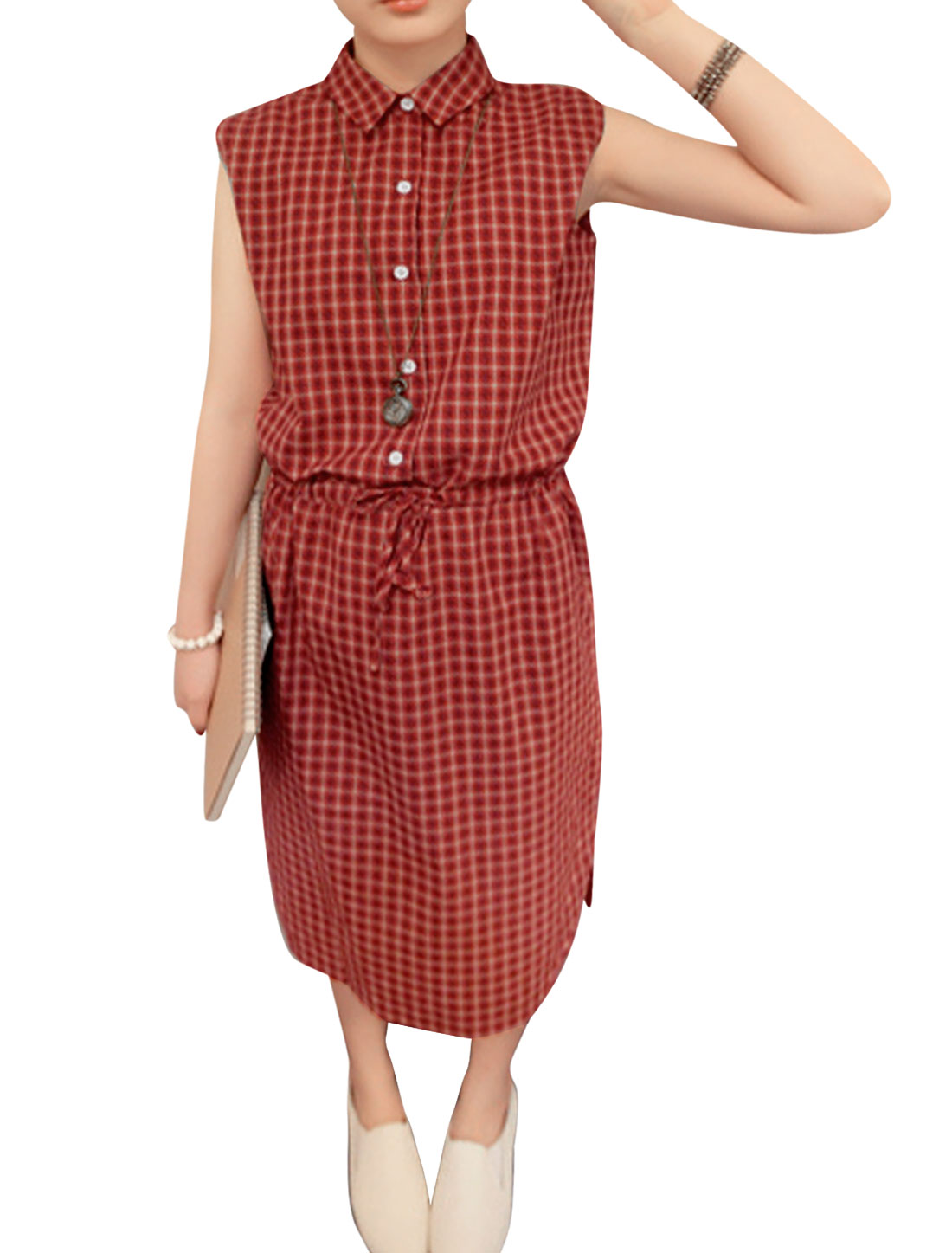 Lady's Sleeveless Checks Pattern Button Closure Front Red Dress XS