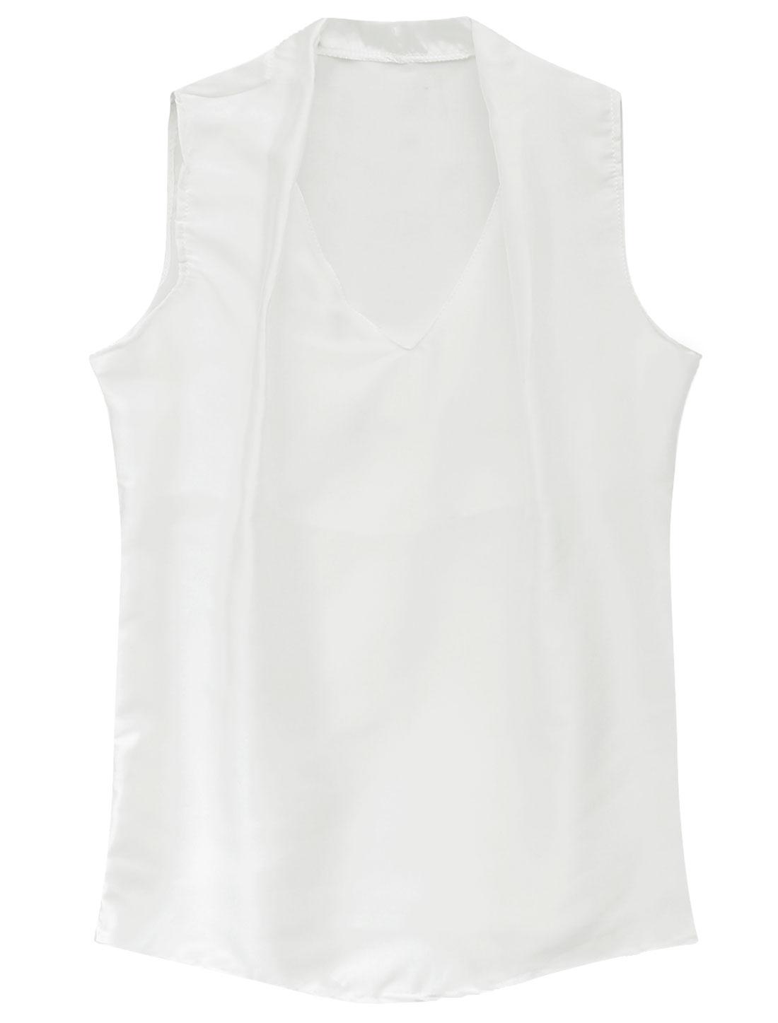 Lady V Neck Semi Sheer Casual Chiffon Blouse White S