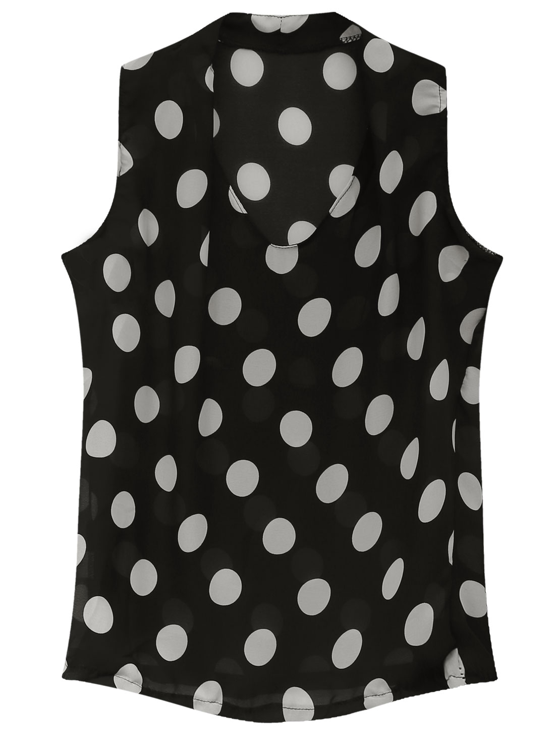 Lady V Neck Sleeveless Dots Prints Semi Sheer Chiffon Blouse Black S