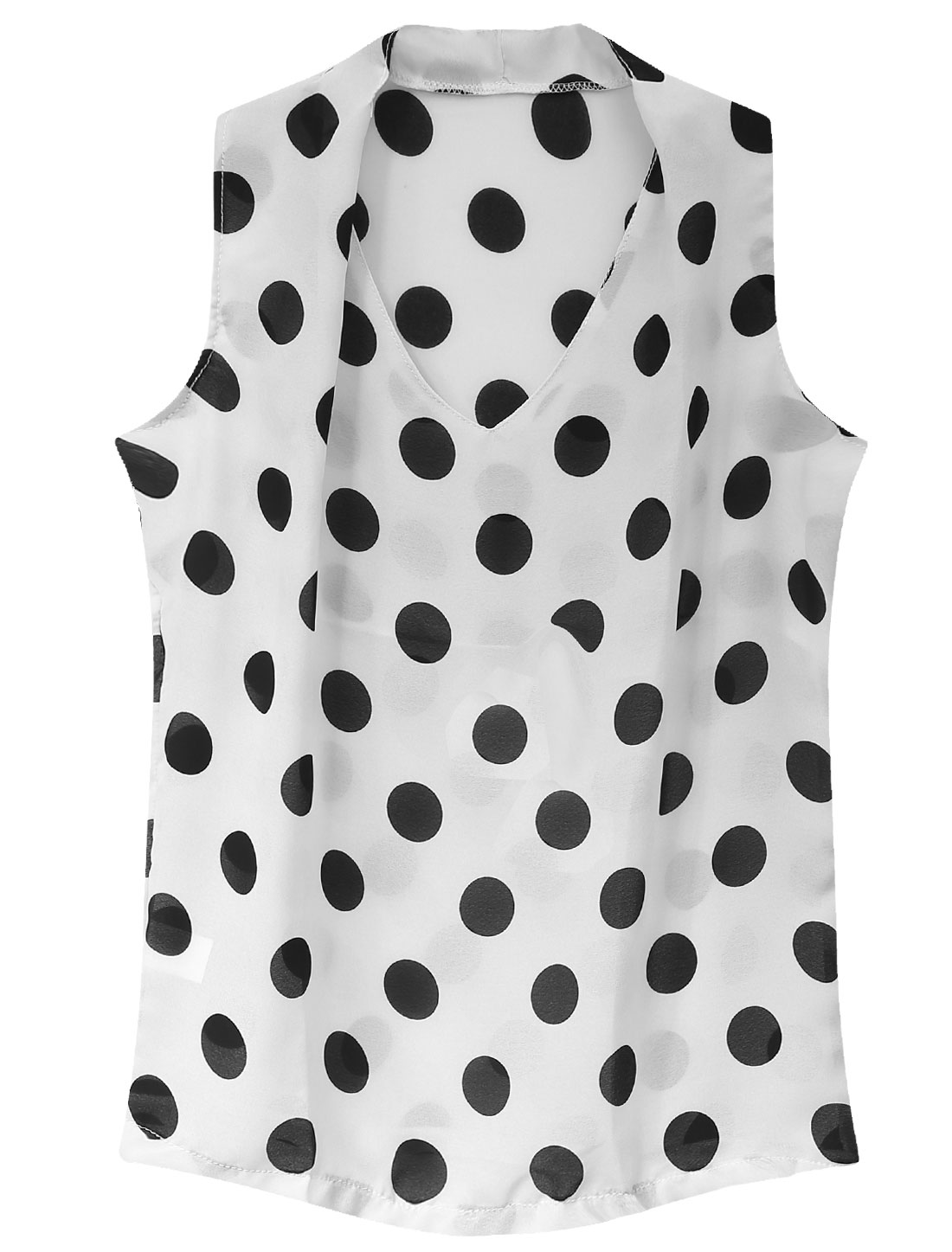 Lady Casual Sleeveless Dots Prints Semi Sheer Chiffon Blouse White S