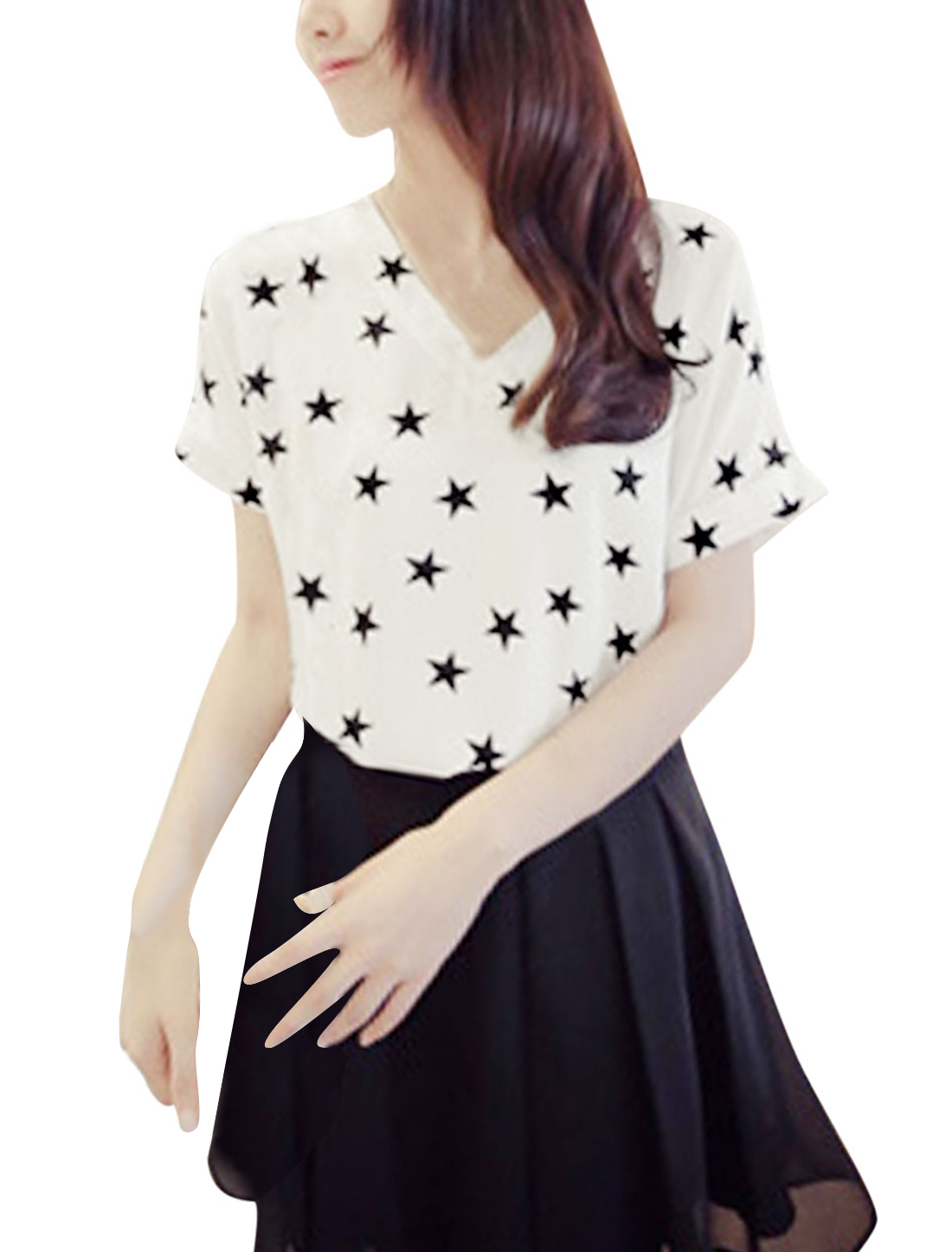 Lady Stars Print V-Neck Semi Sheer Chiffon Blouse White Black XS