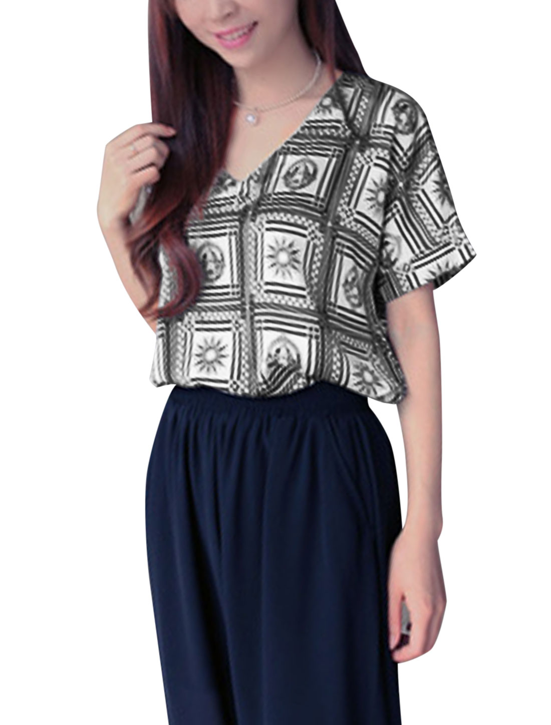Lady's V Neck Novelty Prints Casual Short Sleeve Chiffon Top Black White XS