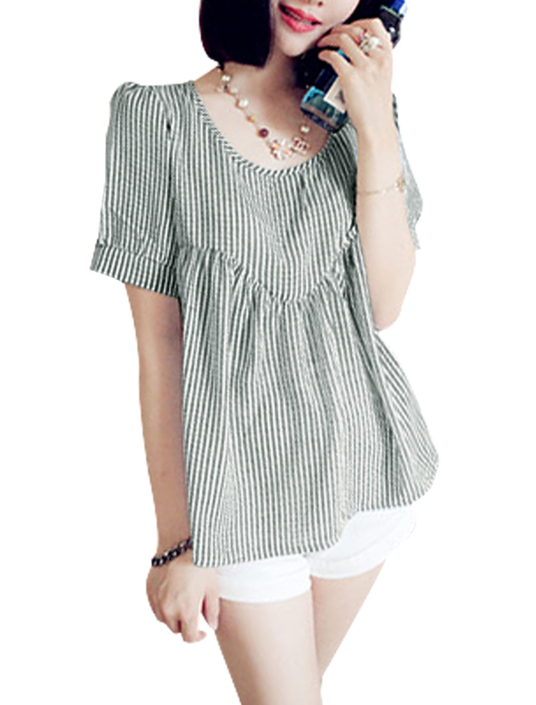 Lady Short Sleeve Stripes Plaids Design Semi Sheer Loose Top White Black XS