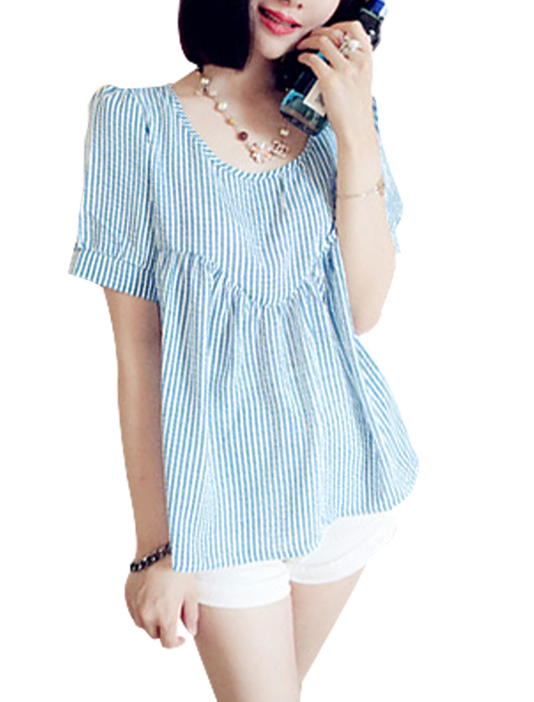 Lady Vertical Striped Plaids Design Semi Sheer Loose Top White Blue XS