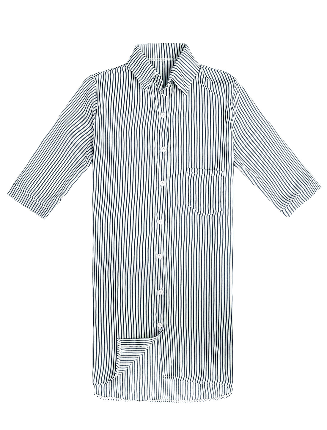Lady 1/2 Sleeve Button Front Stripes Long Shirt Black White XS