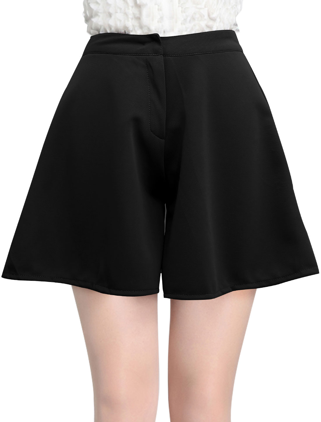 Lady High Waist Zip Front Loose Fit Casual Shorts Black S