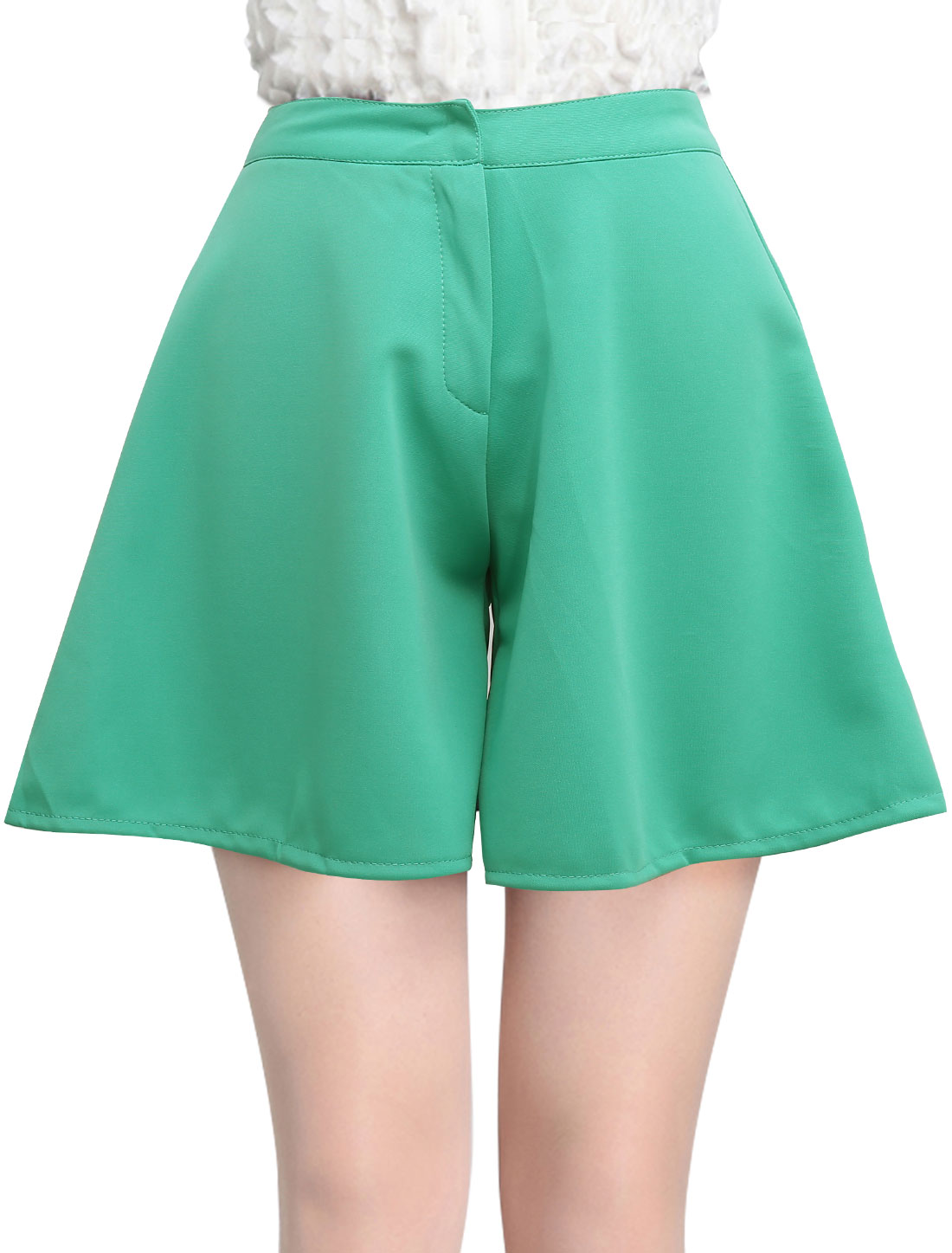 Lady Simple High Waist Zip Front Loose Fit Shorts Sea Green S