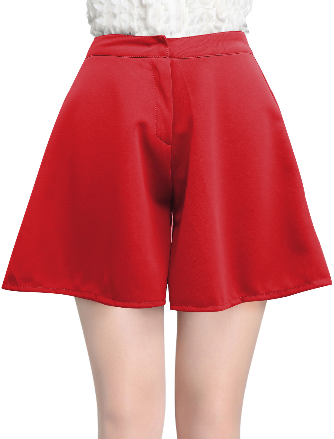 Lady High Waist Zip Up Loose Fit Casual Shorts Red S