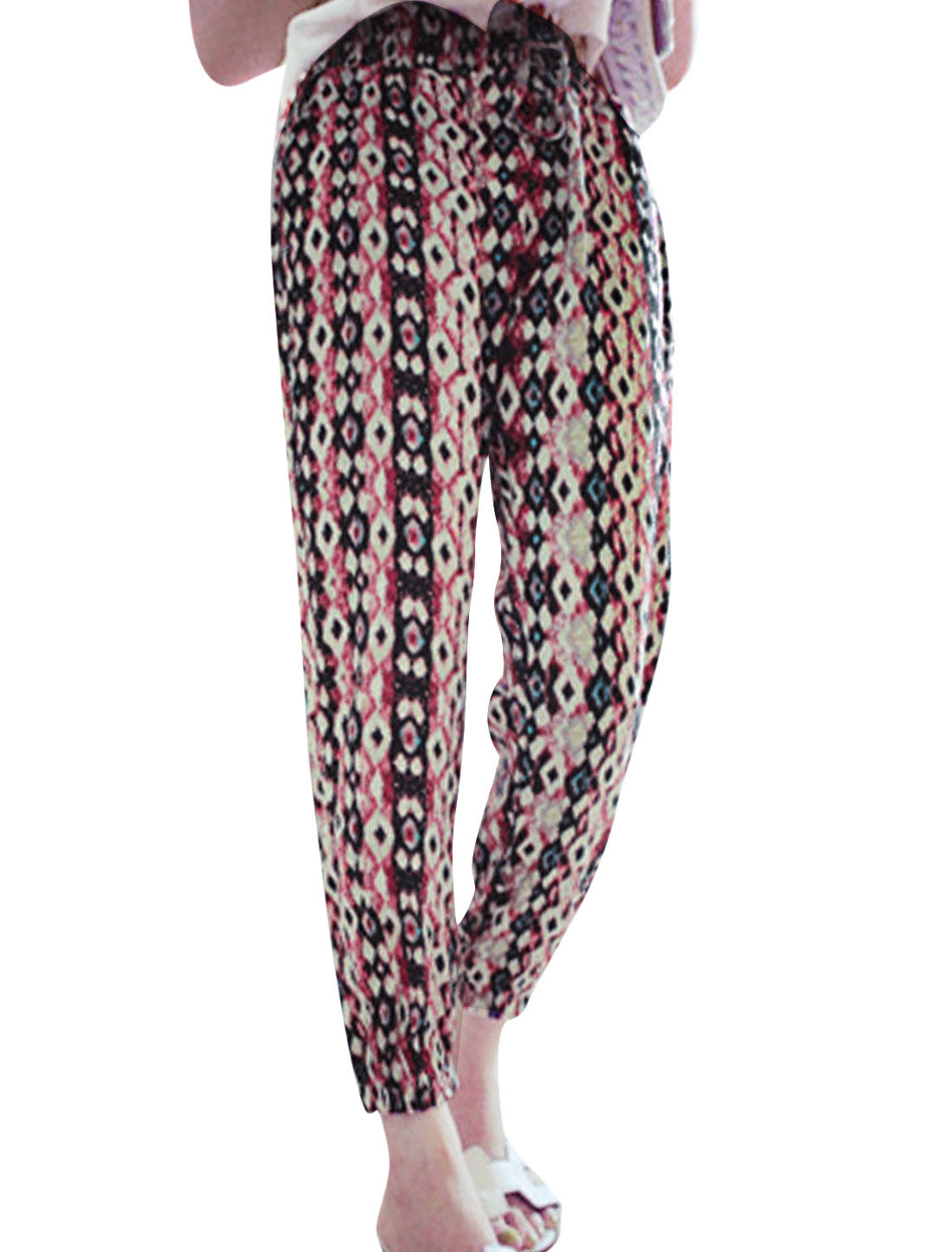 Women Elastic Waist Geometric Pattern Casual Cropped Pants Red XS