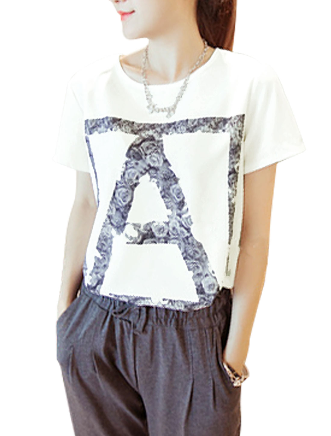 Lady Letter A Print Short Sleeve Summer Fit T-Shirt White XS