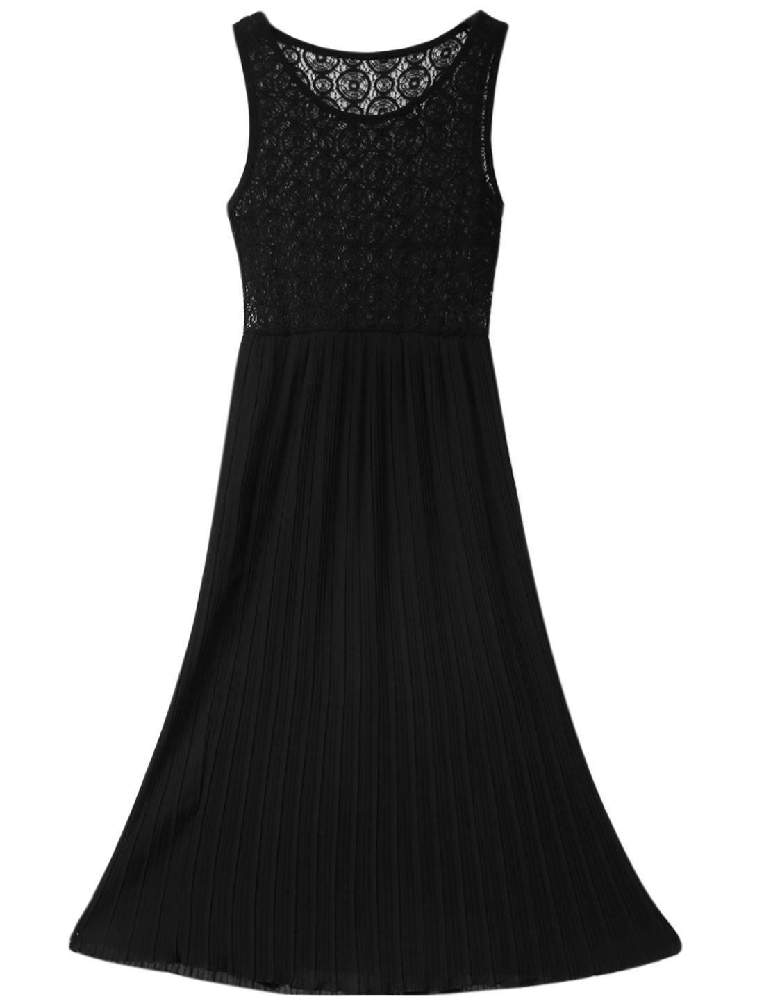 Lady Sleeveless Elastic Waist Lace Panel Pleated Dress Black XS