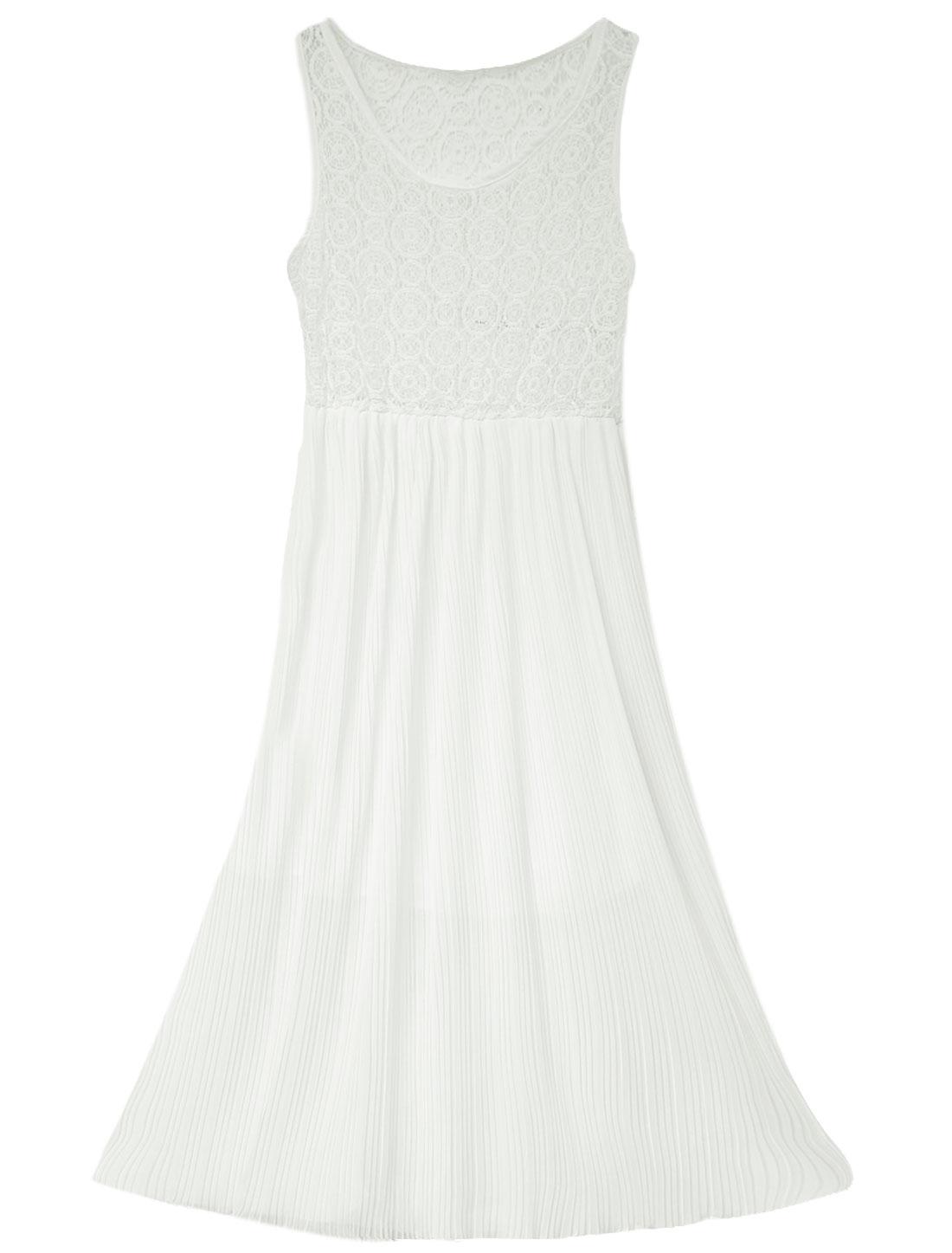 Lady Sleeveless Stretchy Waist Lace Panel Pleated Dress White XS