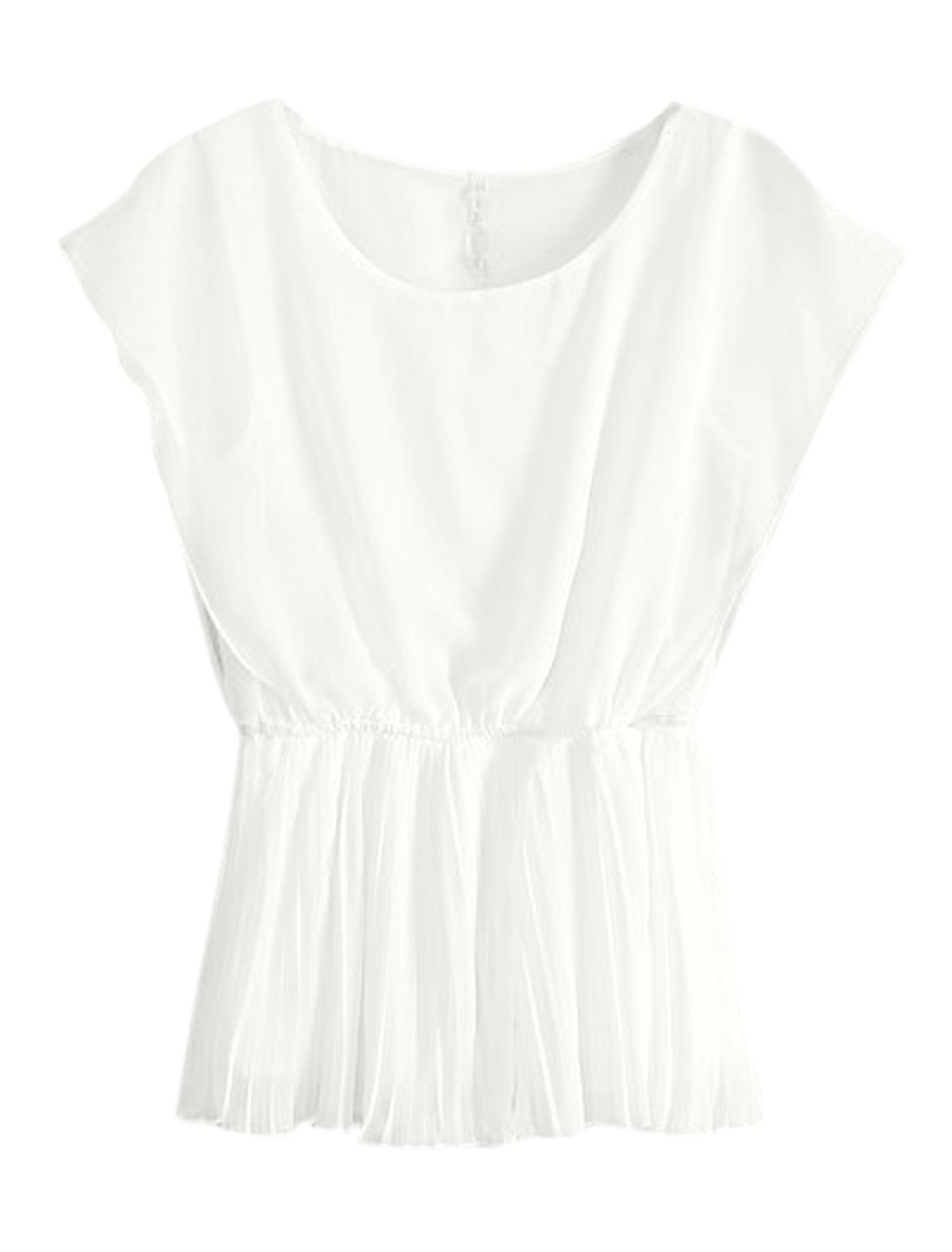 Lady Elegant Sleeveless Elastic Waist Pleated Blouse White XS