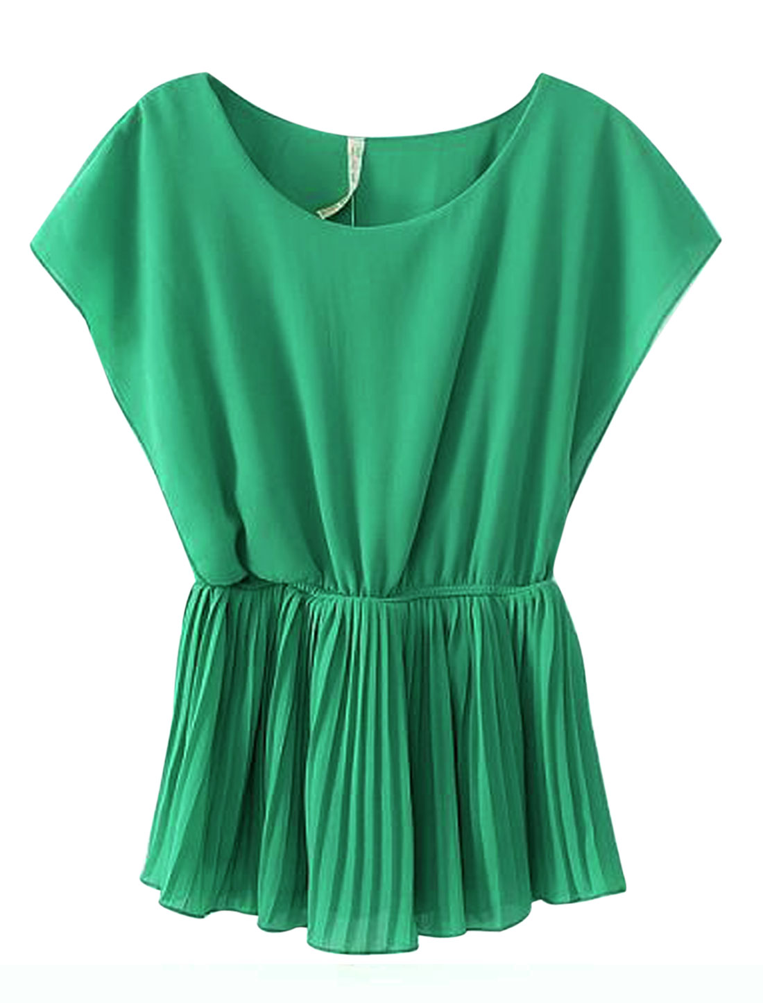 Lady Fashionable Sleeveless Elastic Waist Pleated Blouse Green XS