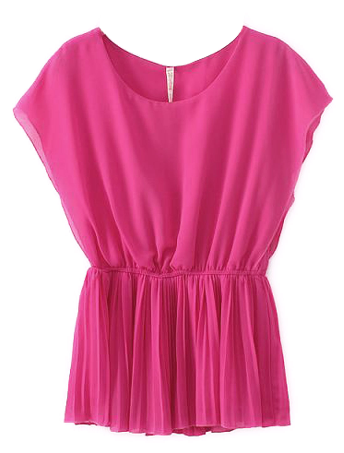 Lady Pullover Sleeveless Elastic Waist Pleated Blouse Fuchsia XS