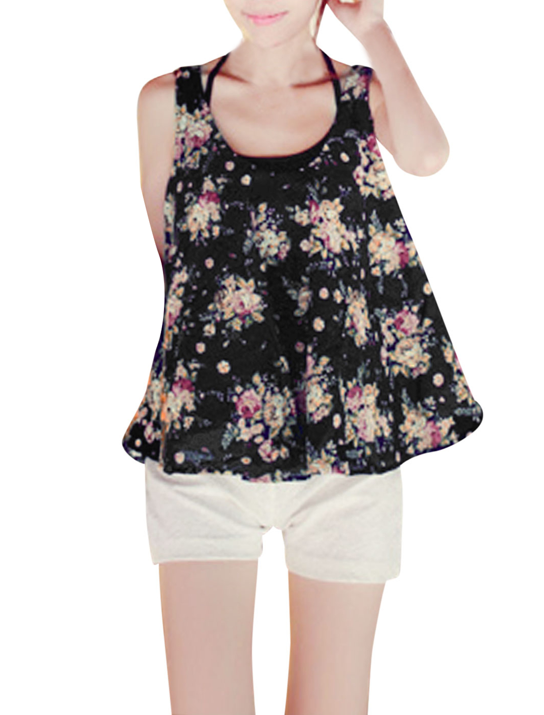 Lady Deep U Neck Sleeveless Floral Prints Loose Tank Top Black XS