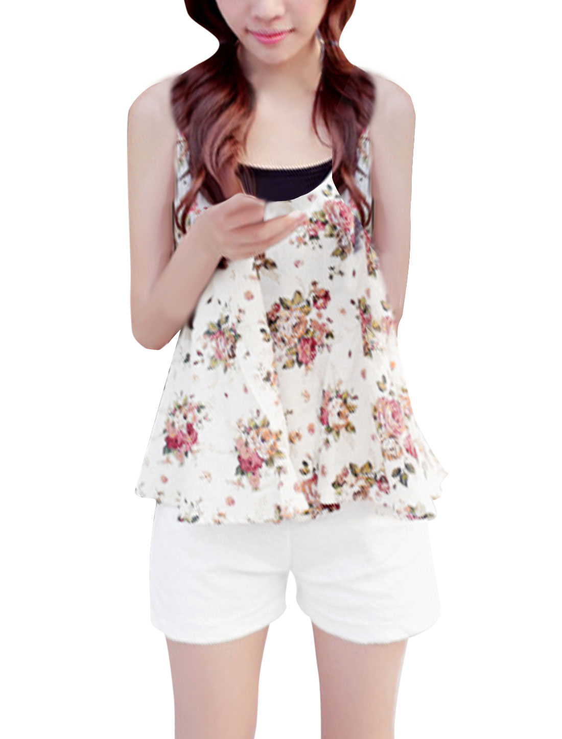 Lady Deep U Neck Floral Prints Loose Tank Top White XS