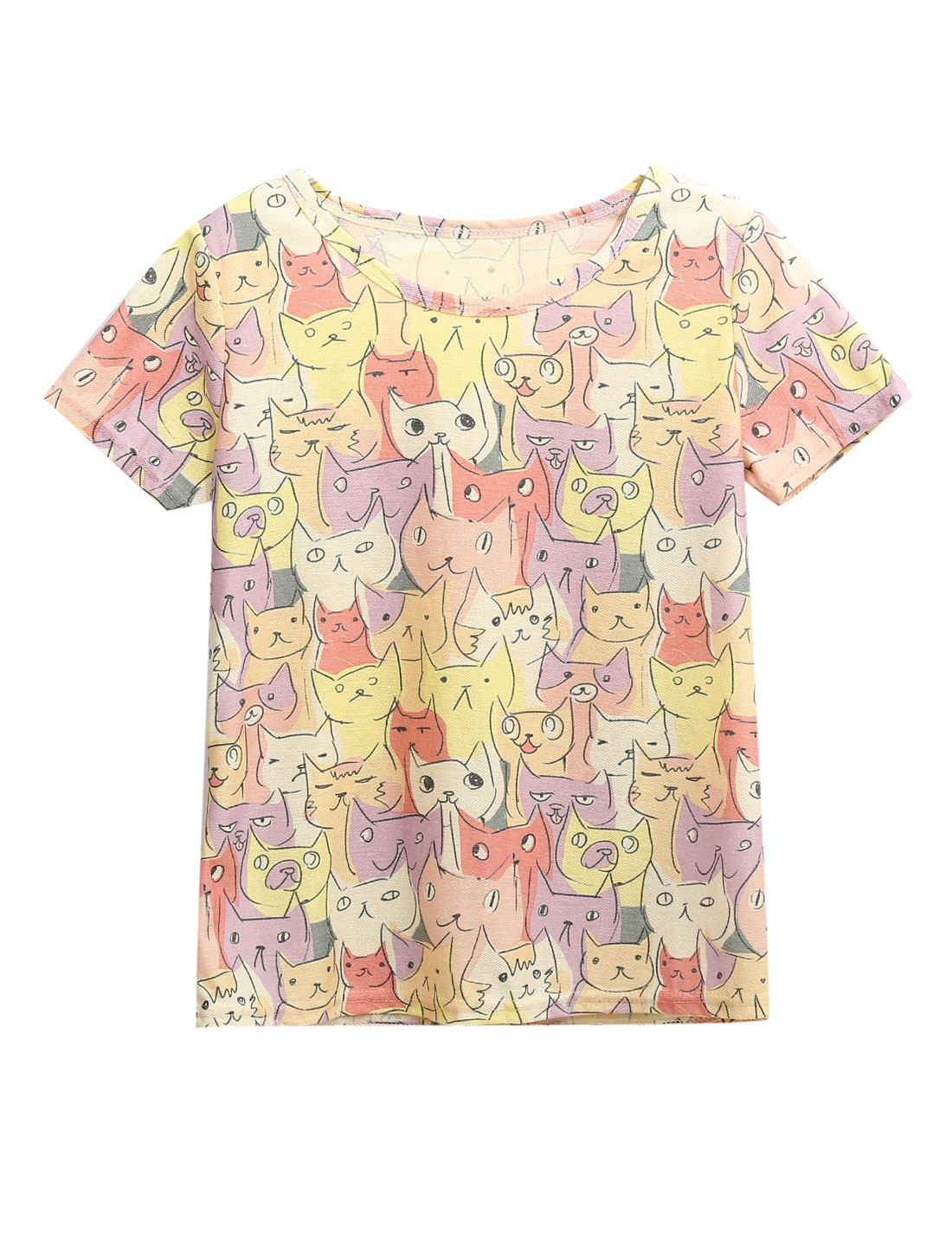 Woman Cat Print Short Sleeve Casual T-Shirt Multicolor XS