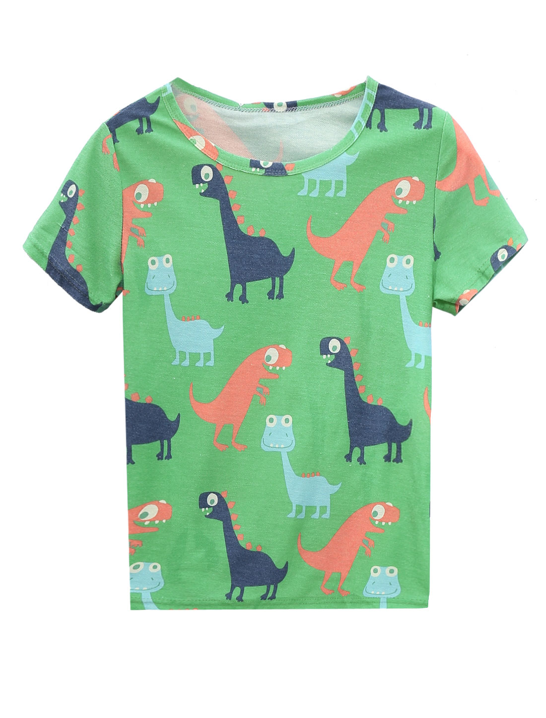 Women's Short Sleeve Dinosaur Print Casual T Shirt Multicolor XS