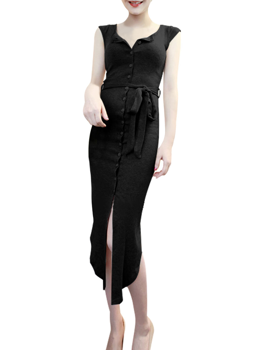 Lady Cap Sleeve Single Breasted Belt Loop Shirt Dress w Waist Strap Black XS