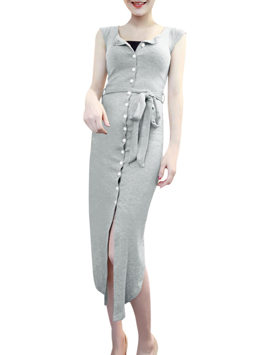 Lady Cap Sleeve Button Down Belt Loop Shirt Dress w Waist Strap Gray XS