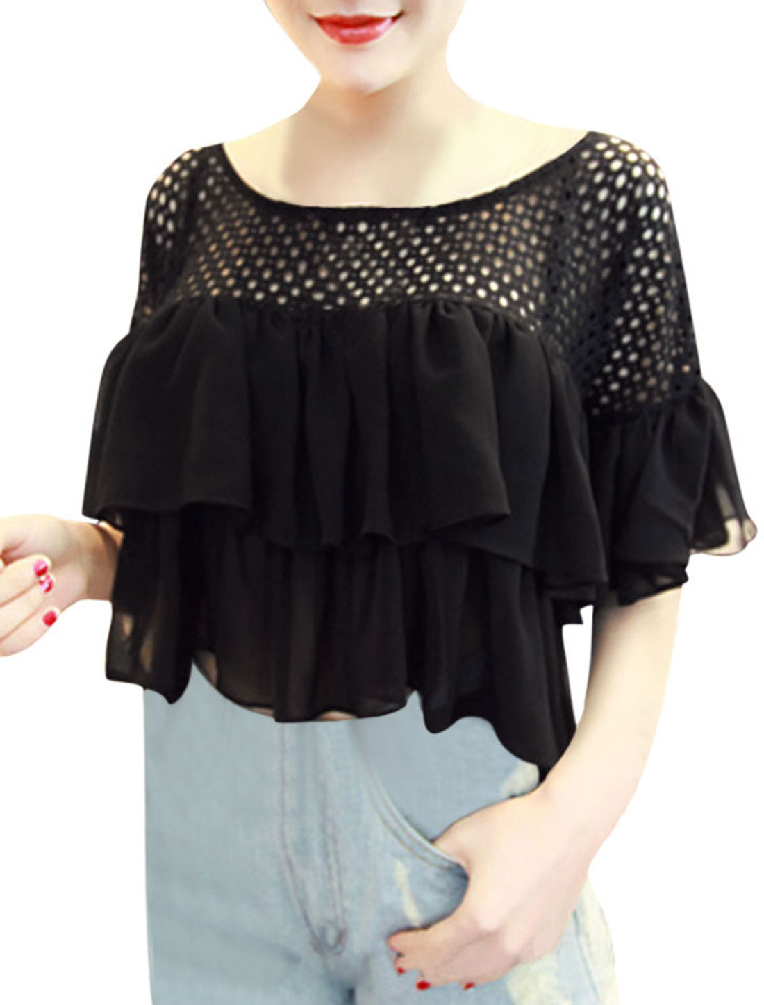 Lady's Lace Chiffon Panel Trumpet Sleeve Midriff Blouse Black XS