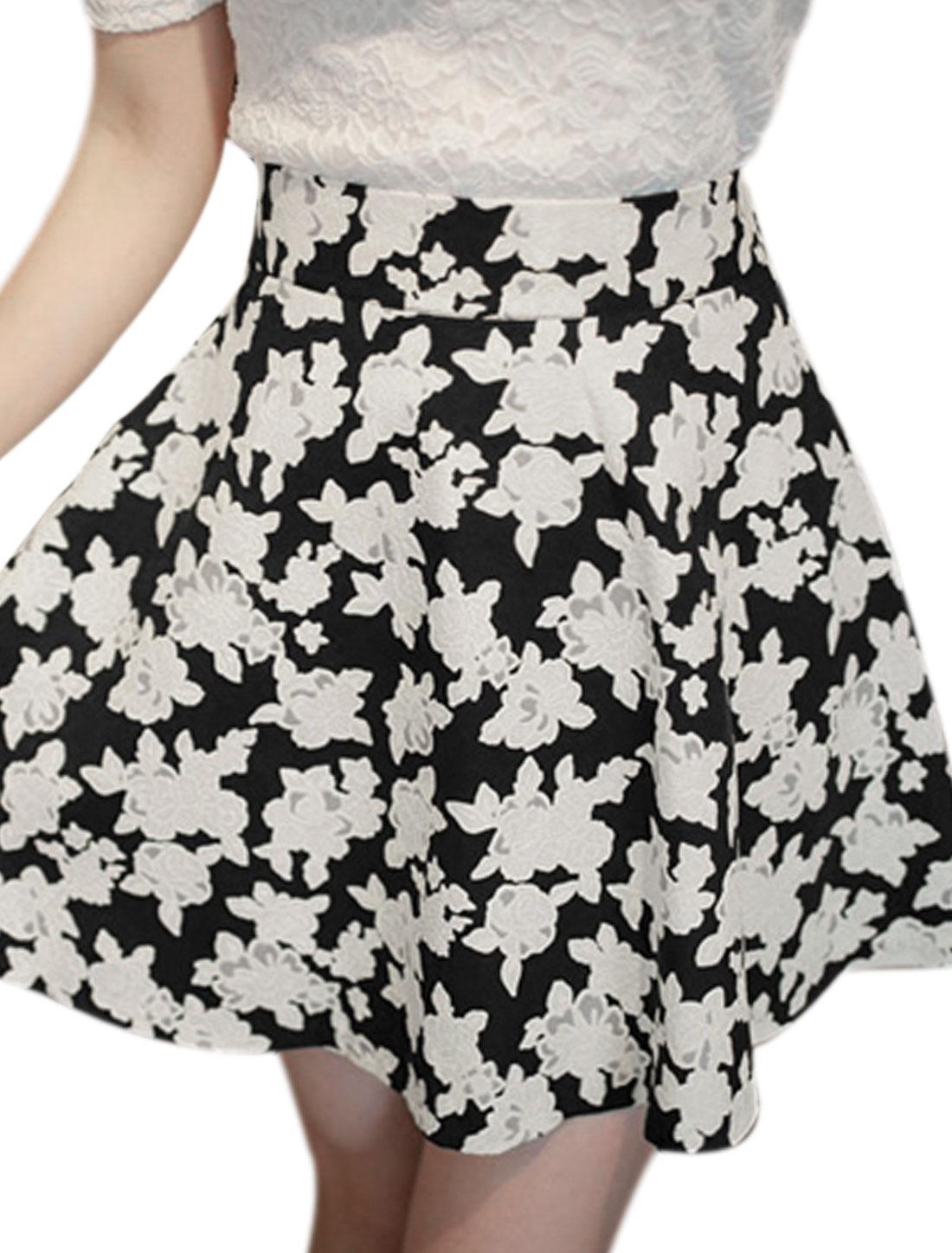 Lady's Floral Prints Lined Hidden Zipper Side High Waist Mini Skirt Black White S