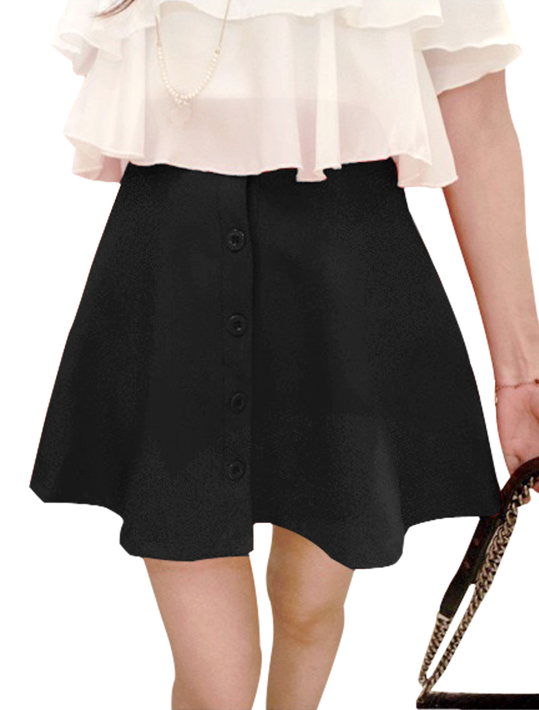 Lady Elastic High Waist A-Line Unlined Button-Front Skirt Black S