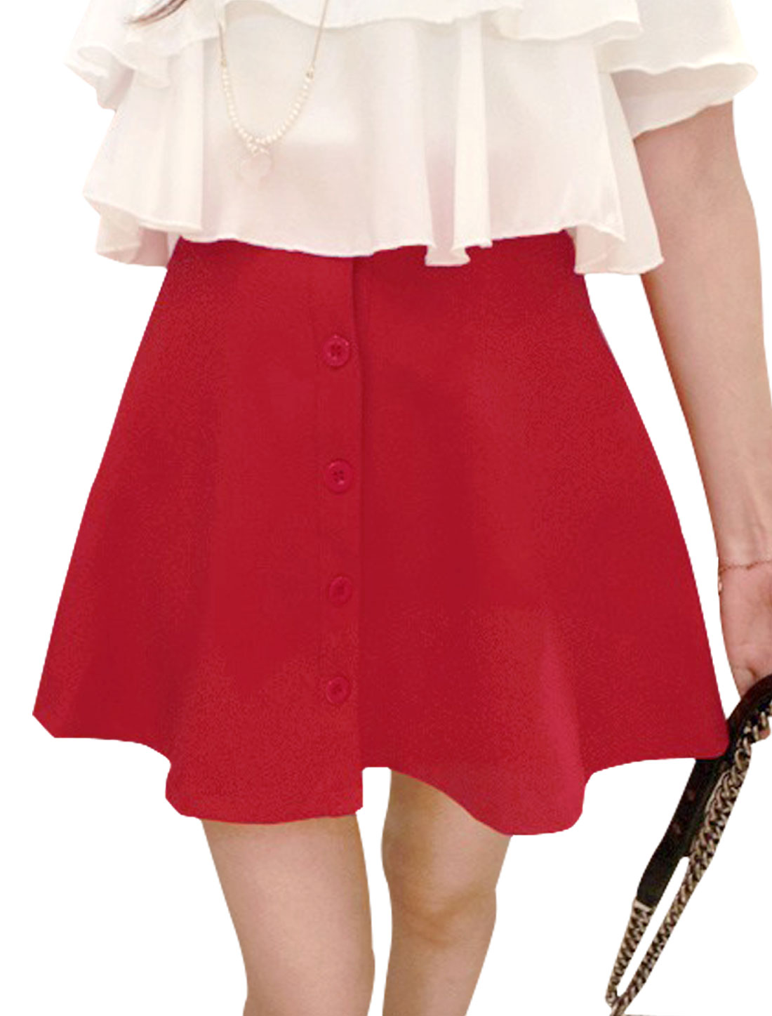 Lady Elastic High Rise A-Line Unlined Button-Front Skirt Red S