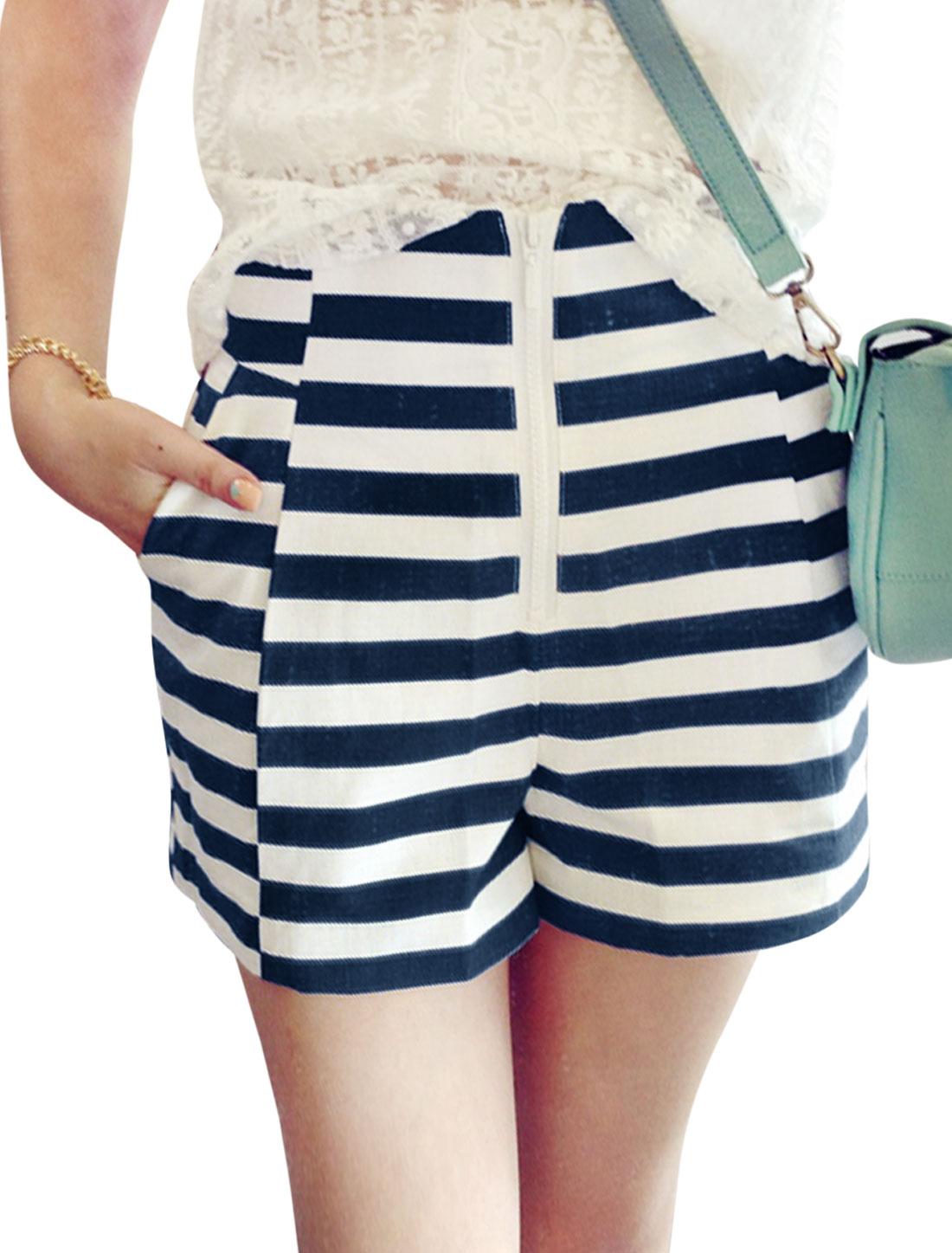 Lady High Waist Zip Fly Stripes Slim Fit Shorts White Dark Blue XS
