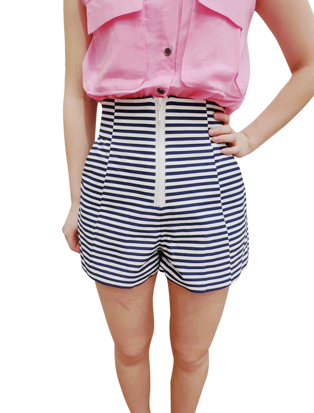 Lady High Rise Zip Front Stripes Slim Fit Shorts White Dark Blue XS