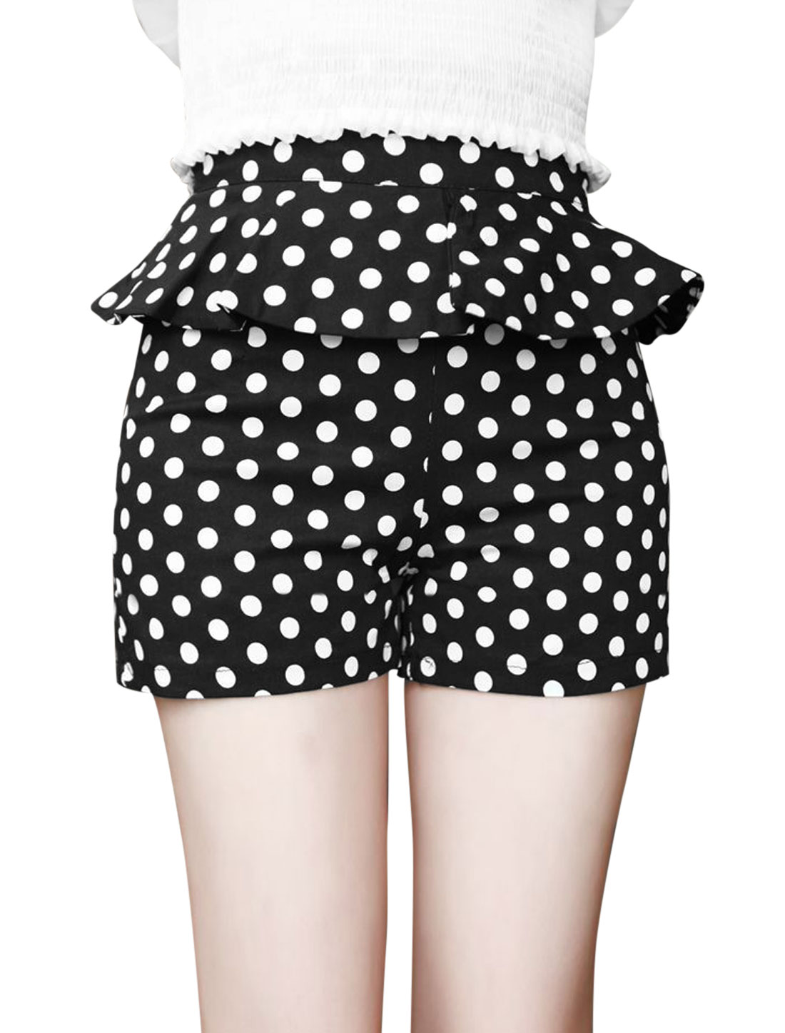 Lady's Ruffles Dots Pattern Hidden Zipper Side Slim Casual Shorts Black XS