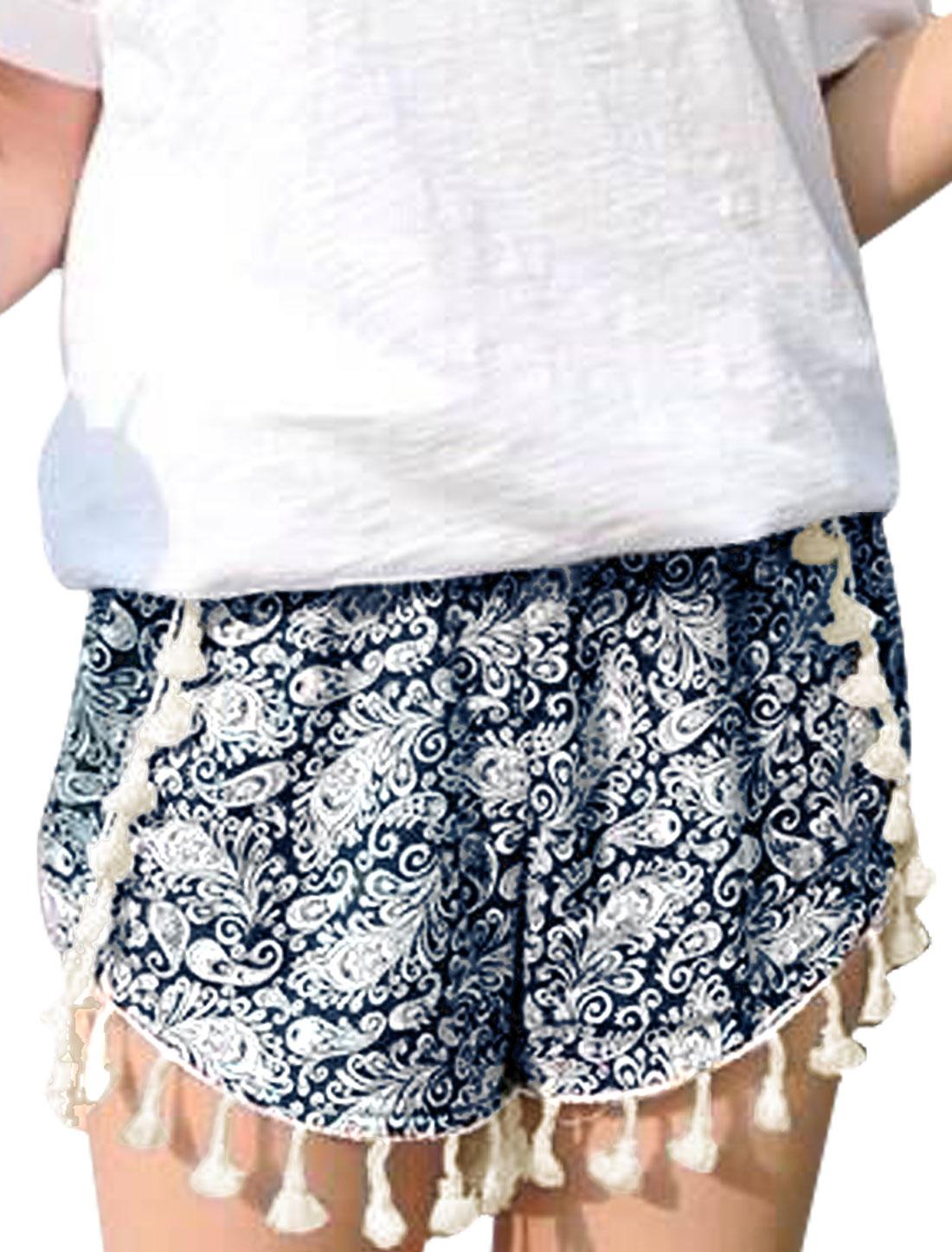 Ladies Fringed Hem Paisley Pattern Elastic Waist Shorts Navy Blue XS