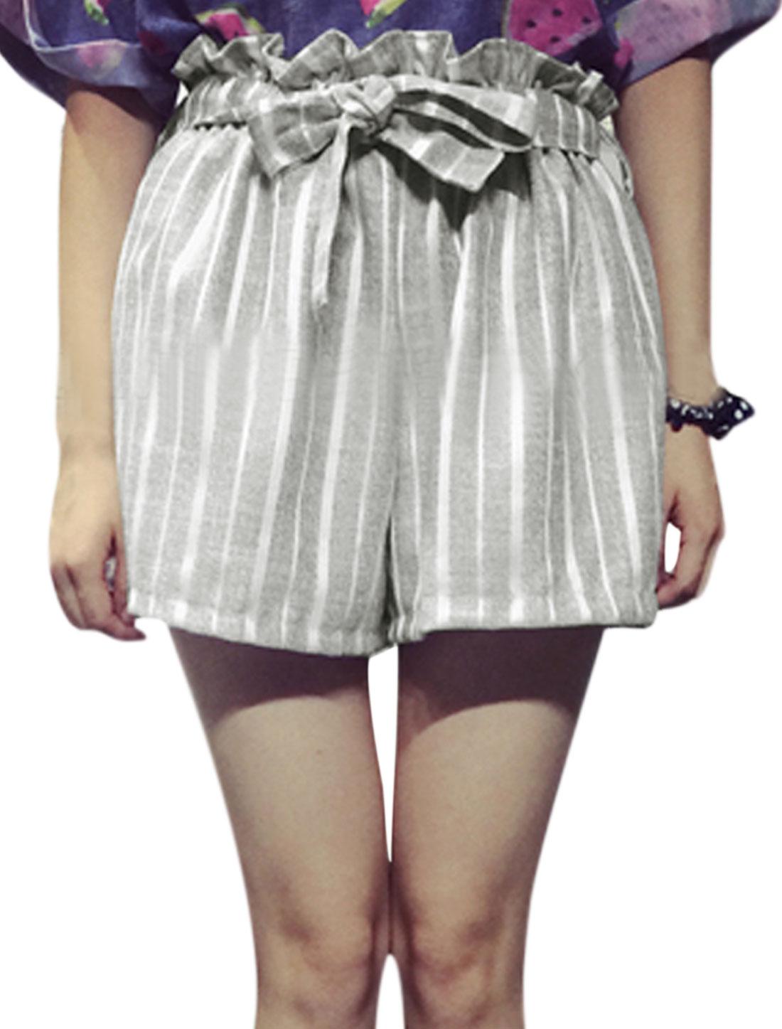 Lady Elastic Ruffle Waist Stripes Casual Shorts w Waist Strap Light Gray XS