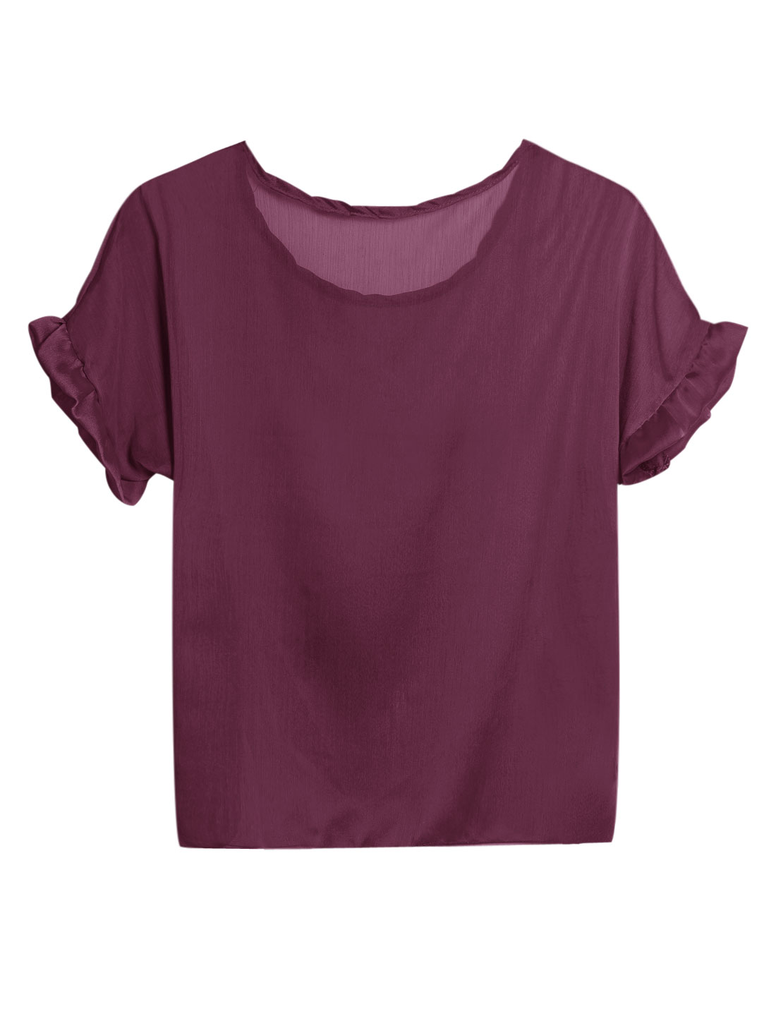 Lady Short Batwing Sleeve Semi Sheer Ruffle Design Loose Blouse Purple S