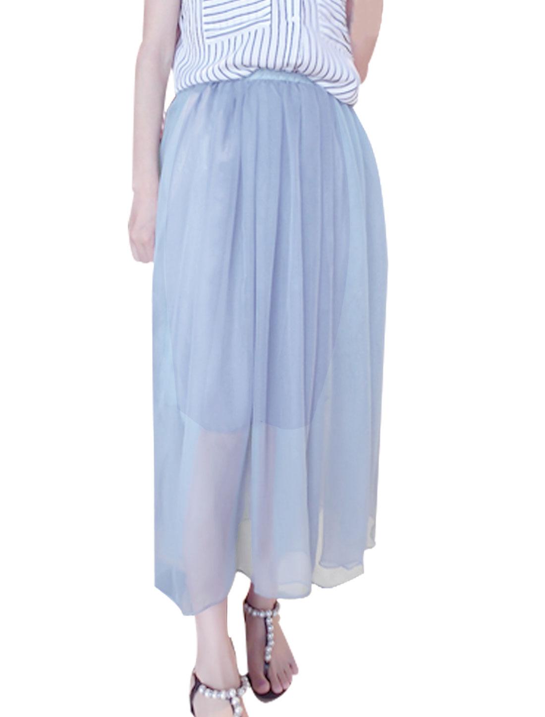 Woman's Elastic Waistband Polyester Lined Mesh Skirt Light Purple S