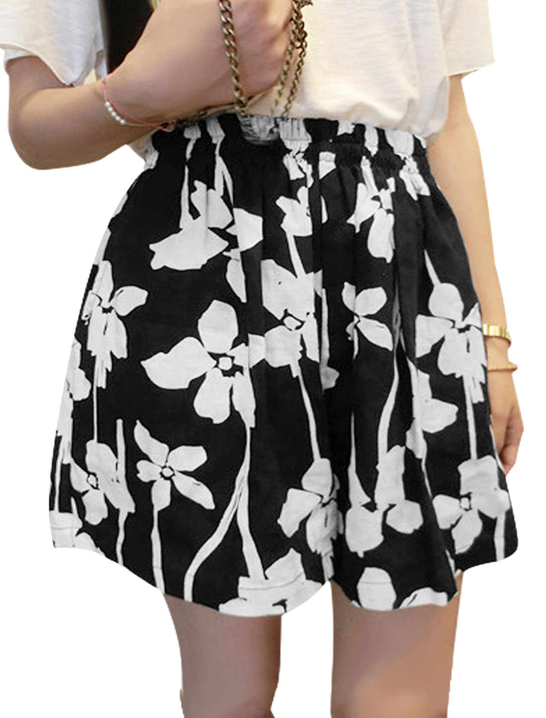 Lady Elastic High Waist Floral Prints Loose Casual Shorts Black XS