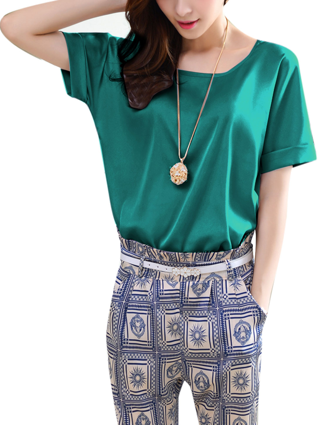 Lady Round Neck Short Batwing Sleeve Soft Blouse Dusty Green M