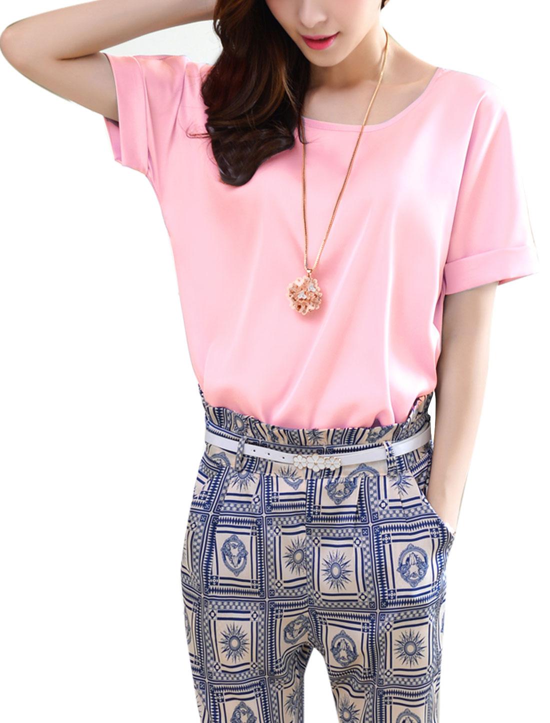 Lady Round Neck Short Batwing Sleeve Elegant Blouse Pink M