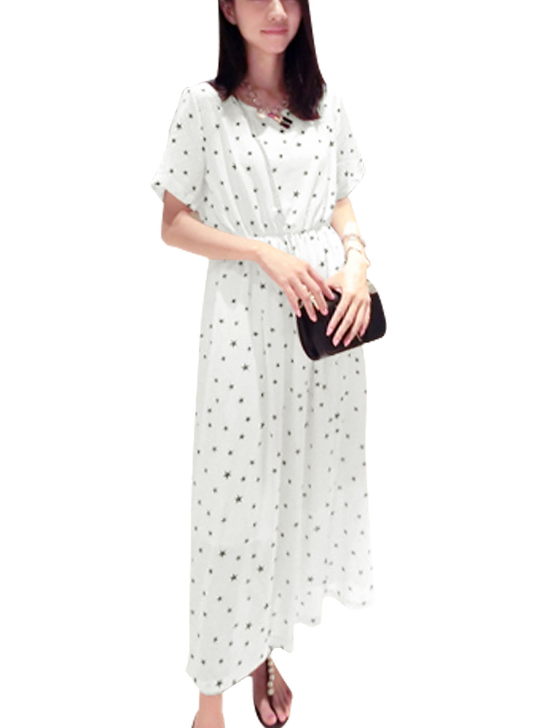 Lady's Short Sleeve Stars Prints Stretchy Waist Chiffon Long Dress White XS