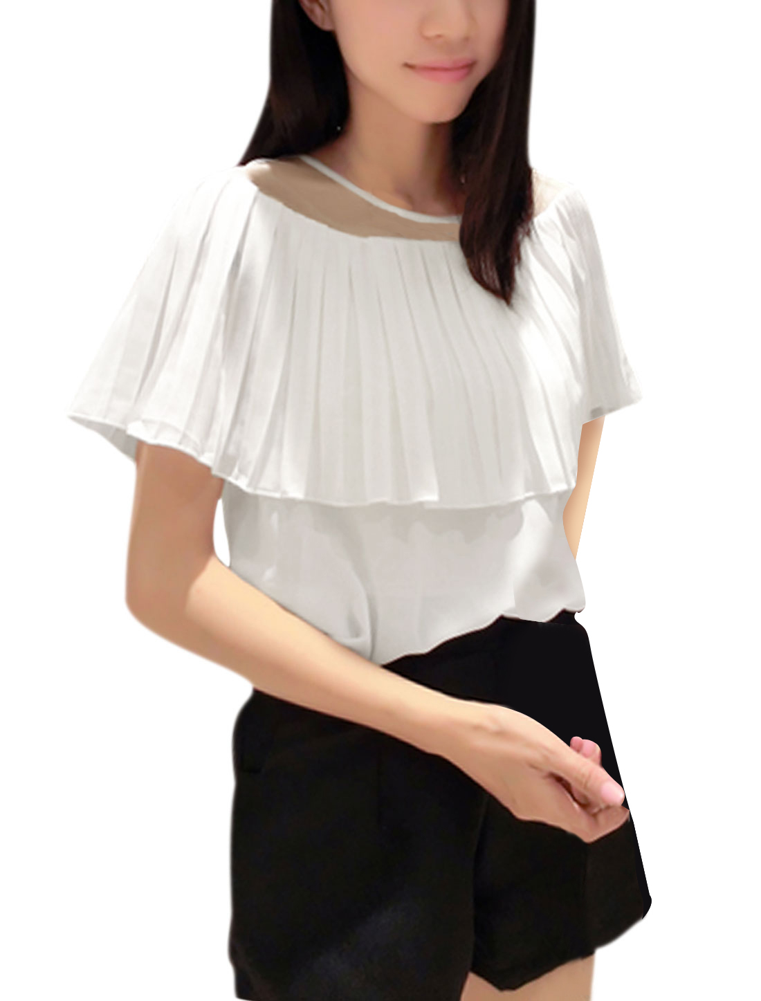 Ladies Sweet Mesh Panel Pleated Upper Chiffon Blouse White XS