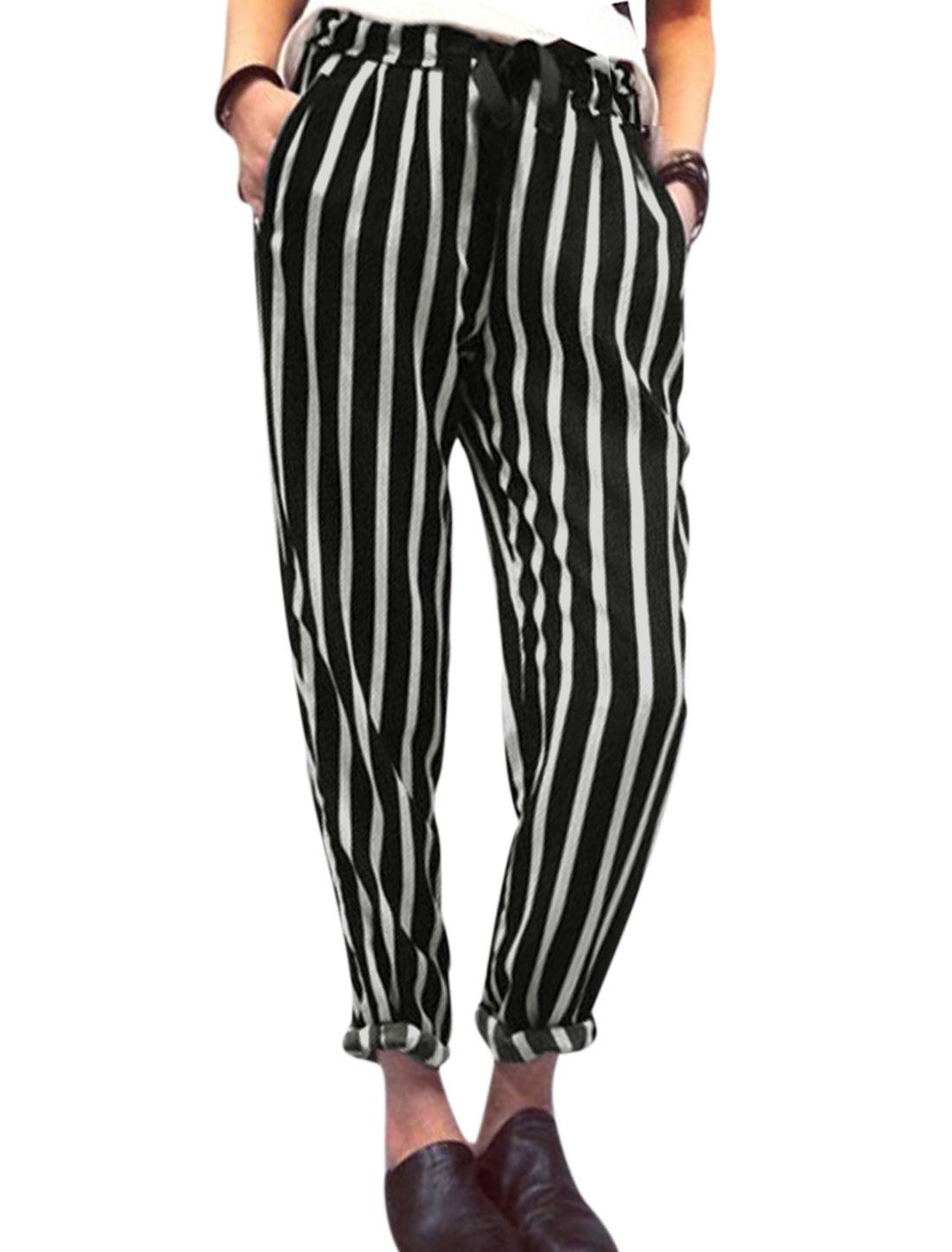 Women Drawstring Waist Vertical Stripes Semi Sheer Chiffon Harem Pants Black S