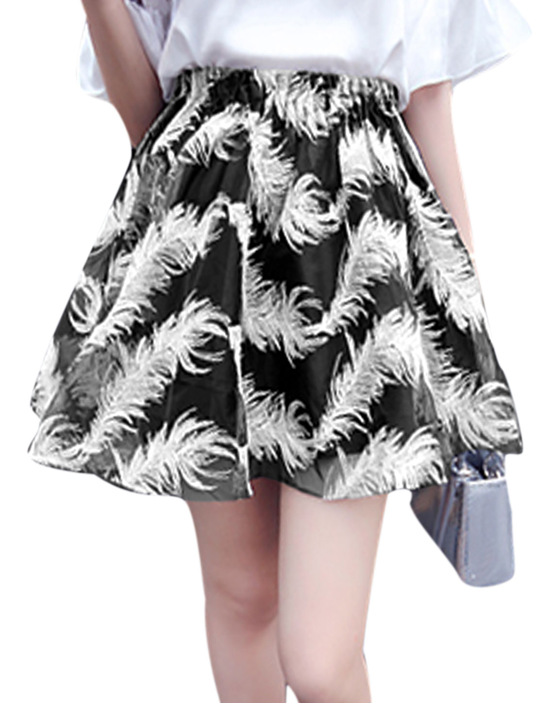 Women Sweet Summer Stretch Waist Feather Embroidery Organza Skirt Black XS