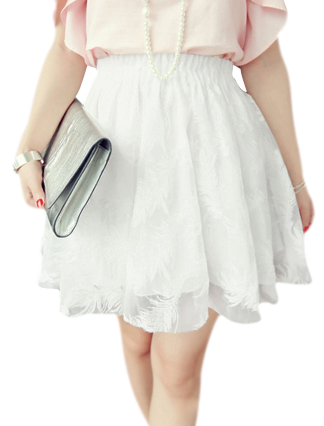 Women Elegant Elastic Waist Fully Lining Organza Skirt White XS