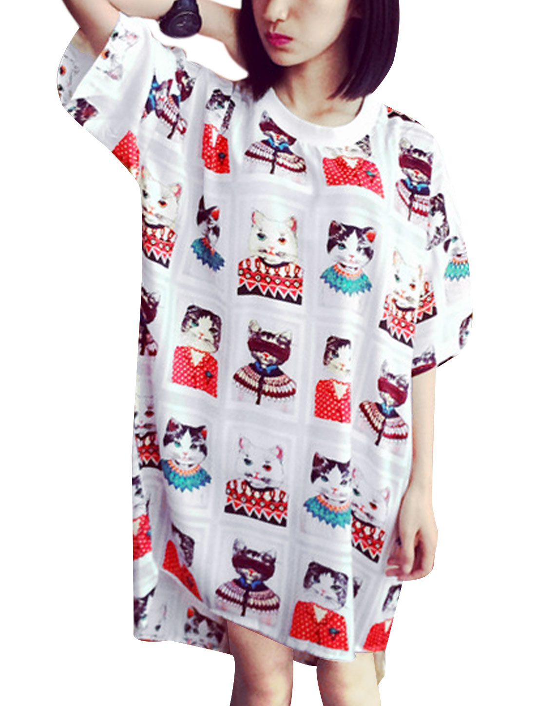 Lady Elbow Sleeve Cartoon Cat Prints High Low Hem Loose Tunic Top Multicolor S